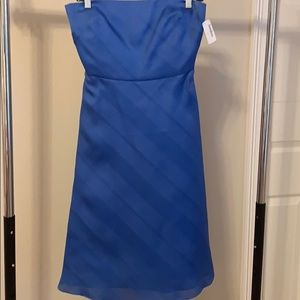 Blue Kay Unger midi dress